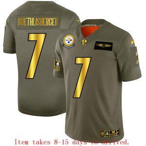 Steelers #7 Ben Roethlisberger Jersey Olive